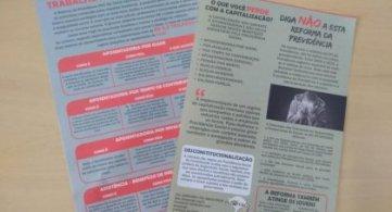 Entidade organiza distribuição de material sobre a Reforma da Previdência